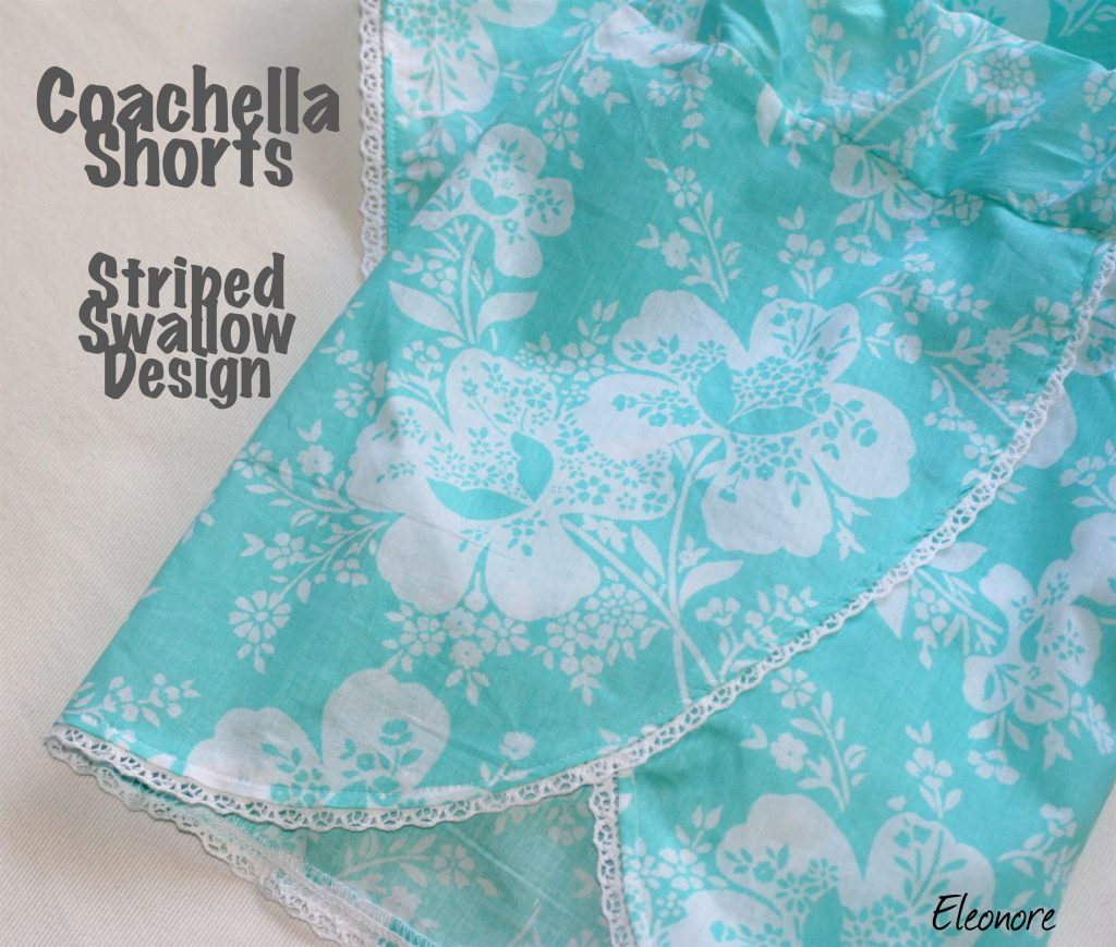 Coachella Shorts Striped Swallow Design